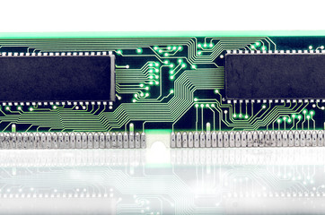 Computer Memory Closeup With Reflection Isolated
