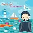 Summer Sea Diver in the Sea
