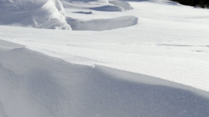 large snow drifts and snowstorm
