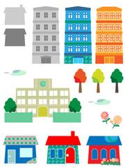 家、マンション、イラストセット