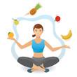 Woman juggling various fruit