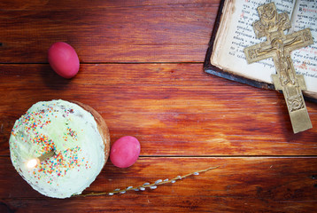 Composition about Christian Easter with eggs and a cake