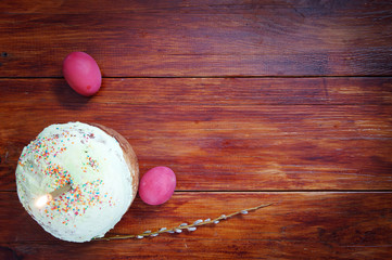 Composition about Orthodox Christian Easter with eggs and cake