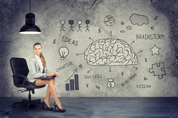 Businesswoman next to Brainstorming Illustrations