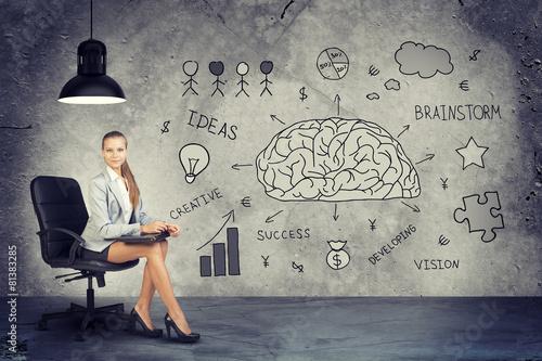 Businesswoman next to Brainstorming Illustrations - 81383285
