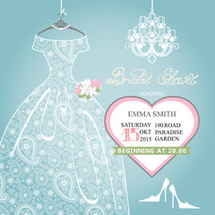 Bridal shower invitation.Wedding lace dress on hanger