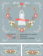 Bridal shower set.Wedding dress,floral wreath,decor