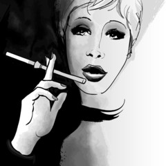 Portrait of a woman smoking with a cigarette holder
