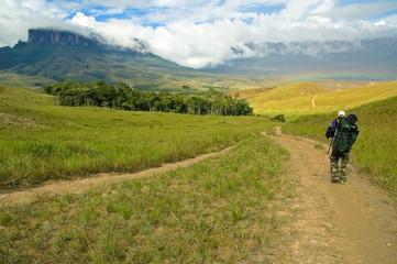 Tourist walking the trail near Mt Roraima