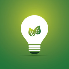 Green Eco Energy Concept Icon - Plant Inside the Light Bulb