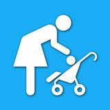Icono madre con bebe con sombra azul