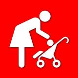 Icono madre con bebe con sombra rojo