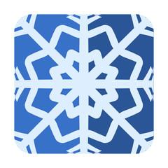 Icono cuadrado azul estrella de frio con sombra