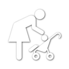 Icono madre con bebe con sombra blanco