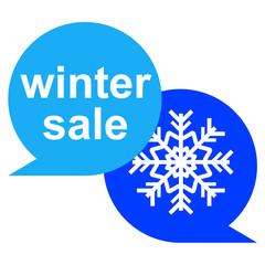 Icono texto winter sale con estrella frio