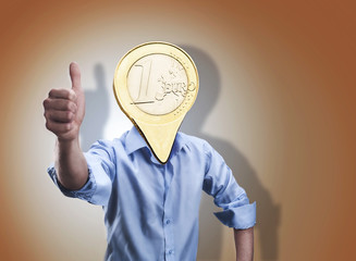 Businessman with an euro coin instead of his head