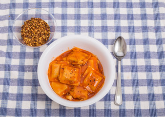 Ravioli with Hot Pepper Flakes