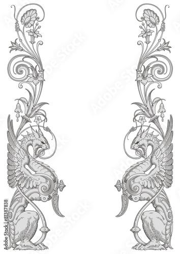 Dragons Frame Vector - 81387838