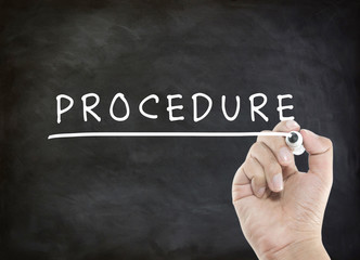procedure word with hand writing
