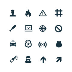 crime, justice icons set