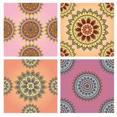 Set of seamless patterns mandala. Vector illustration.