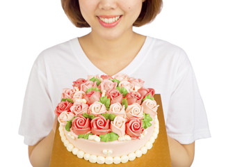 Women Congrats rose flower cream cake traditional and blessing o