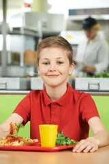 Male Pupil Sitting At Table In School Cafeteria Eating Healthy L