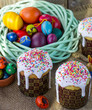 Easter  Easter cakes and painted eggs in a rustic style