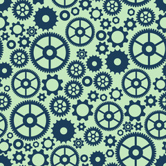 Seamless colorful background with gears in flat design