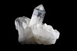 Quartz Crystal Cluster Horizontal on Black Background - 81391031