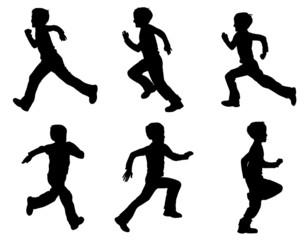 kid running silhouettes - vector