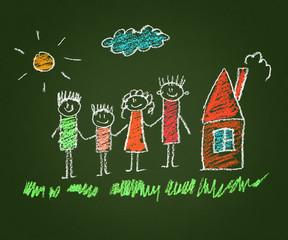 Happy parents and children