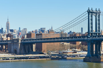 Manhattan Bridge and skyline view from Brooklyn Bridge