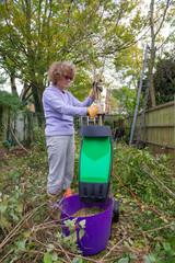 Woman Shredding Branches