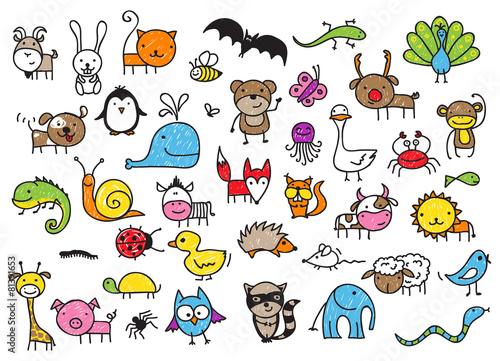 obraz PCV Rysunki dziecięce zwierząt