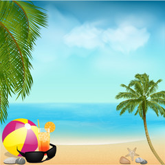 summer beach background with palms and ball