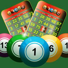 new bingo cards and bingo balls on green background