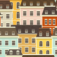 City Seamless Pattern. Vector illustration with tiny flat houses