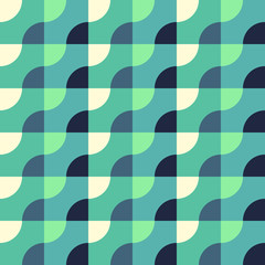 Retro Geometric Blue Pattern. Vector seamless background