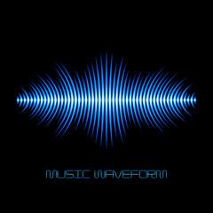 Blue sound waveform with sharp edges