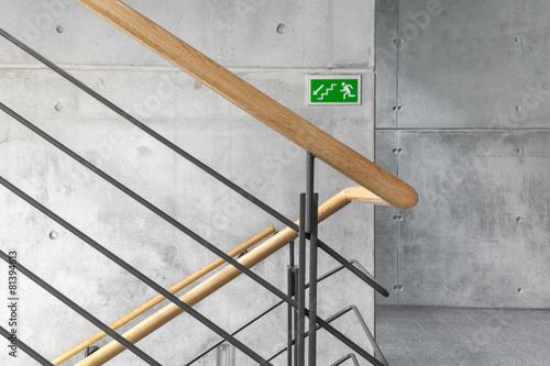 Leinwanddruck Bild Treppenhaus Notausgang