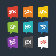 Flat Discount Labels. Vector Sale Speech Bubbles