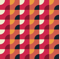 Retro Geometric Red Pattern. Vector seamless background