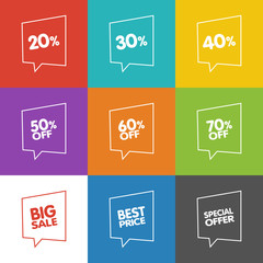 Line Discount Labels. Vector Sale Speech Bubbles