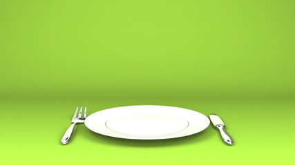 Cutlery And Dish On Green Text Space