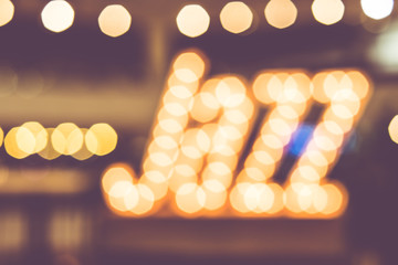 abstract blur bokeh in jazz word,music background,vintage filter