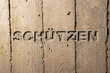 "Leinwanddruck Bild - Impulswort ""SCHUETZEN"" am Brunnen im Klarahof Kollegium Stans"
