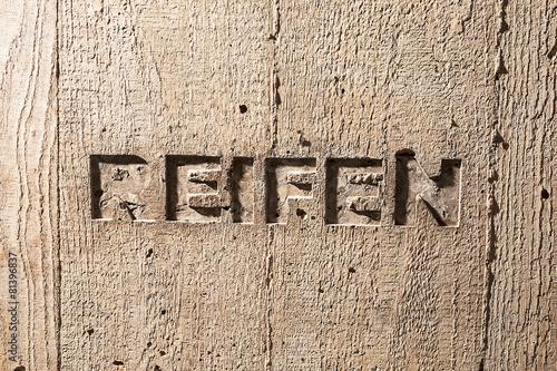 "Leinwanddruck Bild Impulswort ""REIFEN"" am Brunnen im Klarahof Kollegium Stans"