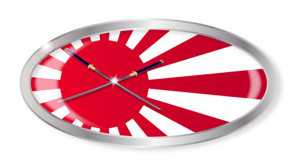 Japanese Flag and Swords Oval Button