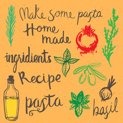Home made pasta doodle hand drawn elements
